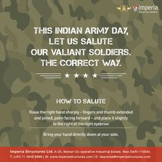 THIS INDIAN ARMY DAY, LET US SALUTE OUR VALIANT SOLDIERS. ‪#‎ArmyDay‬ ‪#‎IndianArmy‬ ‪#‎ImperiaStructures‬