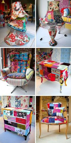 Insanely Smart Creative and Colorful Upcycling Furniture Projects - Dekoration Ideen Funky Furniture, Furniture Projects, Furniture Makeover, Painted Furniture, Refurbished Furniture, Vintage Furniture, Fabric Covered Furniture, Patterned Furniture, Painted Dressers