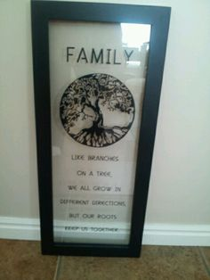 Made for mom's birthday with adhesive vinyl and put on a floating frame