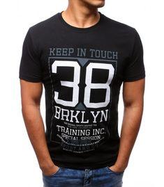12d7a1727d56 Čierne pánske tričko s potlačo