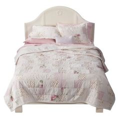 shabby chic - quilt from Target !!  I want this quilt, the pink bedskirt, pink ruffled sheets, pink blanket, etc.  <3<3<3
