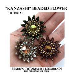 Kanzashi Beaded Flower PDF beading pattern Instant por LeelaBeads