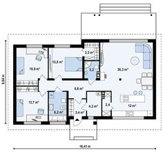 House plans modern bungalow 41 new Ideas My House Plans, Bedroom House Plans, Small House Plans, Bungalow House Design, Modern Bungalow, Villa Plan, Brick Interior, Architecture Plan, House Layouts
