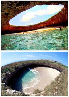 This is Hidden Beach , a hidden island in the Marietta Islands, located in the southeast of the city of Tepic, Nayarit.