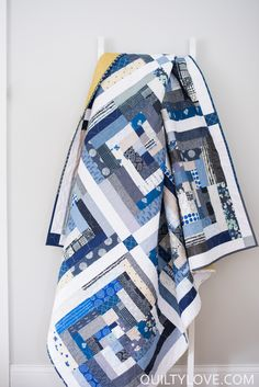 This is the first completed quilt of I feel like I'm kind of off to a slow start for Have too many things going on or something. Today I am sharing a scrappy Indigo Log Cabin Quilt with you!) The other one still needs to be quilted. Strip Quilts, Blue Quilts, Scrappy Quilts, Quilt Blocks, White Quilts, Colorful Quilts, Log Cabin Quilts, Log Cabins, Quilting Designs