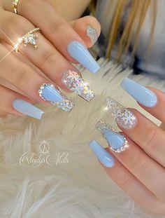 Cute Acrylic Nail Designs, Blue Nail Designs, Blue Acrylic Nails, Blue Nails, Winter Acrylic Nails, Xmas Nails, Christmas Nails, Christmas Christmas, Christmas Snowflakes