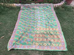 Dhani Vintage Kantha Quilt Throw Sari Rug Bedspread Couch