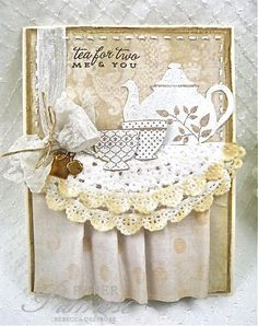 RebeccaDeeprose, Tea for Two, cream, white, taupes, vintage, shabby chic, Papertrey Ink stamps