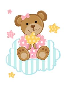 Pink Teddy Bear Wall Mural Decal for baby girl nursery. Sitting on a cloud, little bear proudly shows off his yellow polka dot star while surrounded by the twinkling night stars. This bear is absolutely adorable with her cute pink pajamas #decampstudios