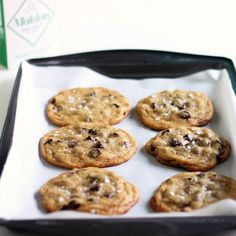 A big, dense, super chocolatey and perfectly chewy chocolate chip cookie. Sprinkle with flaky sea salt for a truly gourmet experience.