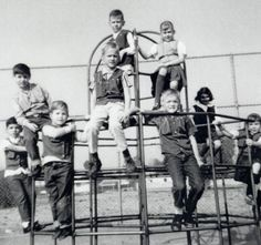 The playground picture shows children in the hearing impaired program at Saticoy St. Elementary School, North Hollywood, 1965. Each child wears a body vest which held their hearing aid. This program was a part of the Special Needs division of 9 classrooms. Some children traveled up to two and a half hours by bus each way to attend the program. San Fernando Valley History Digital Library. Pechansky Collection.