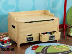 Kids Table And Chairs, Table And Chair Sets, Woodworking Projects Diy, Wood Projects, Kids Playroom Furniture, Blanket Chest, Wood Toys, Toy Boxes, Wooden Boxes