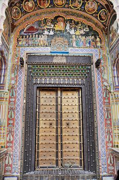 The Grand Entrance of The Dr. Ramnath A Podar Haveli Museum in Shekhawati, Rajasthan - India