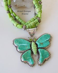David Troutman turquoise, peridot & gaspeite butterfly Pendant on Schaef Designs Jewelry gaspeite 3-strand necklace | David Troutman Jewelry | upscale online southwestern native american equine & gemstone jewelry gallery boutique| Schaef Designs artisan handcrafted Jewelry | San Diego CA
