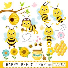"""Honey bee clipart: """"Bee clipart"""" bees clip art,  bumble bee clipart for scrapbooking, cardmaking, invitations, personal and commercial use"""