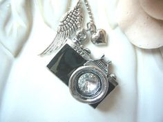 Vintage Sliver Camera Necklace with heart and angel by ninexmuse, $16.90