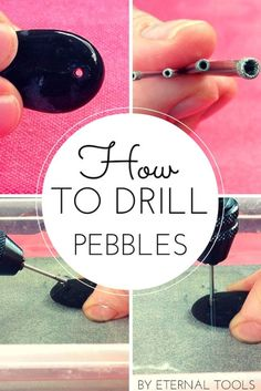 How to Drill Pebbles and small beach or garden stones by Eternal Tools. This follow along tutorial is full of tips and makes drilling holes into pebbles nice and easy. It shows the equipment you'll need, top tips along the way and some inspiring work by other artists who use pebbles and stones in their jewellery and craft work. by pauline Rock Jewelry, Jewelry Tools, Wire Jewelry, Jewelry Crafts, Stone Jewelry, Amber Jewelry, Silver Jewelry, Beaded Jewellery, Jewellery Shops