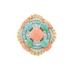 Gold, Platinum, Coral, Turquoise and Diamond Clip-Brooch, David Webb