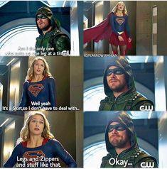 Superhero Shows, Superhero Memes, The Cw Shows, Dc Tv Shows, Supergirl Tv, Supergirl And Flash, Team Arrow, Arrow Tv, Marvel Funny