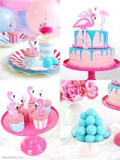 Flamingo Pink & Aqua Blue Birthday party Ideas with lots of DIY and creative details! - BIrdsParty.com @BirdsParty