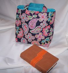 Bible bag Paisley prequilted  fabric~hand bag~small tote~church bag~Christian bag navy blue background with paisley purple, aqua coral by lisalynnitems on Etsy