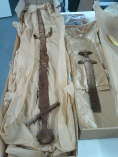 Two swords from a recently discovered grave in Janakkala, Finland. Strangely enough the skeleton was found with one Viking era sword and one rather long sword from a later century! It will be very interesting to watch this mystery unfold, as far as it can be unfolded...
