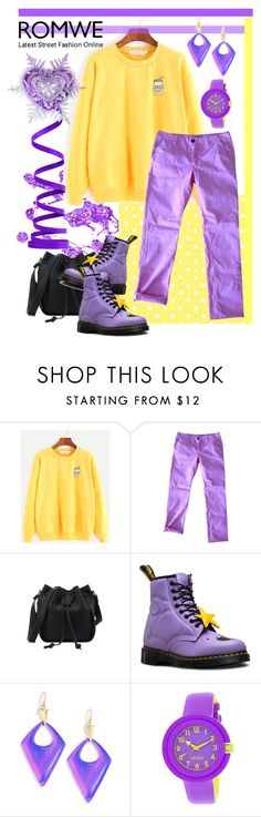 """ROMWE - Yellow Sweatshirt Styling"" by giovanina-001 ❤ liked on Polyvore featuring J Brand, Dr. Martens, Alexis Bittar and Crayo"