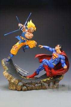 Dragon Ball x DC VKH Super Saiyan Son Goku VS Superman Resin Statue - Visit now for 3D Dragon Ball Z compression shirts now on sale! #dragonball #dbz #dragonballsuper
