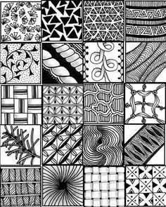 Easy+Zentangle+Patterns | ... printable sheets to serve as a quick reference for zentangle patterns