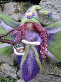 GELOYRA Needle Felted Wool  fairy with harp, Flower fairy, Waldorf inspired fairy doll, wool. €26.00, via Etsy.
