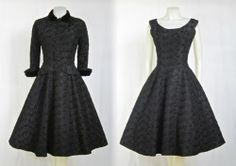 VINTAGE 1950s SUZY PERETTE BLACK EMBROIDERED TAFFETA PARTY DRESS & JACKET SET