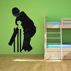 Cricketer Wall Sticker Sports Wall Decal Art available in 5 Sizes and 25 Colours Large Basalt Grey: Amazon.co.uk: Kitchen & Home