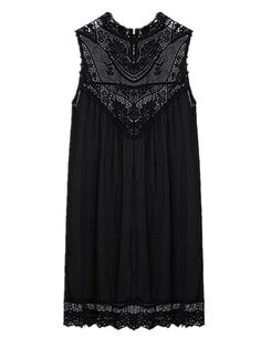 Sexy Chiffion Lace Insert Round Neck Sleeveless Women Mini Dress f38948fa9