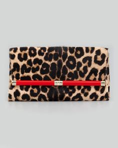 a43159802a129 Diane von Furstenberg 440 Leopard-Print Calf Hair Clutch Bag - With a touch  of red it sets it off.