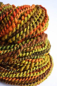 FALLEN LEAVES  Handspun Yarn  47 oz by Biggie on Etsy, $33.00
