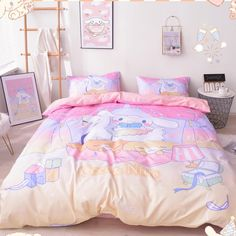 Cartoon Cinnamoroll Bedding Set ●Note :The bedding set has one duvet cover with no filling,one bed sheet and pillowcase. ●Tip:You can choose the size of the bedding set according to the size of the quilt. Beds Online, Art Online, Kawaii Bedroom, Bedroom Inspo, Bedroom Ideas, Home Decor Shelves, Cute Anime Wallpaper, One Bed, My Room