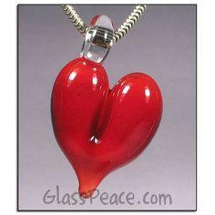 SALE Heart Pendant glass focal lampwork bead by Glass Peace $8.40