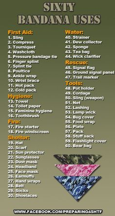 Sixty Uses For a Bandana – Every good Girl Scout should already know this Sixty Uses For a Bandana – Every good Girl Scout should already know this,Survival/Camping/BushCraft Sixty Uses For a Bandana –. Homestead Survival, Wilderness Survival, Camping Survival, Survival Prepping, Survival Gear, Survival Skills, Camping Hacks, Emergency Preparedness, Outdoor Survival