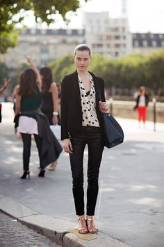 outfit. tan sandals with black pants and blazer