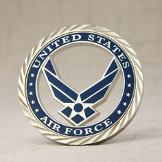 Soft enamel coins, cut-out design, polished with silver finish. Custom Challenge Coins, Military Challenge Coins, Sale Logo, Free Artwork, Military Branches, Us Air Force, Cut Out Design, Metal Pins, Volkswagen Logo