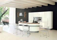 Perfect Modern Kitchen Islands Creating Modern Kitchen Design: Simple Curve White Kitchen Island Design For Modern Style Architecture Interi. Best Kitchen Designs, Modern Kitchen Design, Interior Design Kitchen, Kitchen Decor, Interior Modern, Kitchen Layout, Kitchen Dining, Kitchen Ideas, Small Space Kitchen