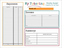 Monthly Tutor Budget Plan by The Tutor House. I use this to track my expenses and income. I calculate my net income and determine how much money to transfer to my business savings account for taxes. Savings Planner, Budget Planner, Business Planning, Business Tips, Business Entrepreneur, Tutoring Business, Online Tutoring, Business Plan Template, Career Advice