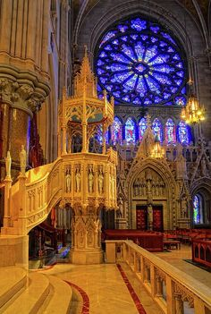 Pulpit of Sacred Heart Cathedral, Newark, NJ - ©Dave Mills (FineArtAmerica) The room is castle like and well lit from the stained glass and the candleabras/ chandeliers. Sacred Architecture, Architecture Cool, Cathedral Architecture, Sacred Heart Cathedral, Cathedral Church, Cathedral Basilica, Beautiful Buildings, Beautiful Places, Architecture Religieuse