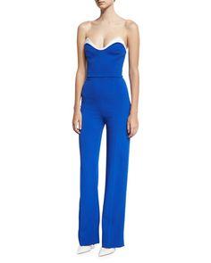Cady Bustier Jumpsuit, Blue/White