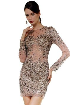17-22 PRIMA Gold Long Sleeve Sequin Cocktail Dress