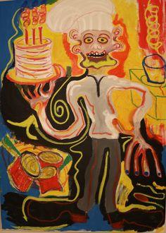 Cook/Maarit Korhonen, acrylic, oil pastels, oil stick, canvas, 92x63 Dark Paintings, Original Paintings, Online Painting, Artwork Online, Dancer In The Dark, Autumn Painting, Original Art For Sale, Artists Like, House Painting