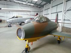 Replica Gloster E28, with Gloster Meteor behind,Jet Age Museum in Gloucestershire, UK set to open late August 2013.