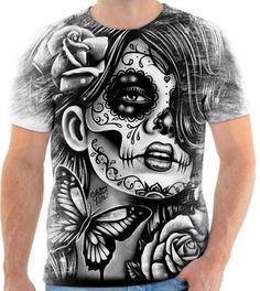 Camisa Camiseta Caveira Mexicana Mexican Skull Girl a515cf157d9