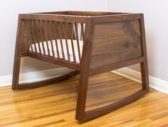 Beautiful Walnut Rocking Bassinet.  Make one for the next grandchild.