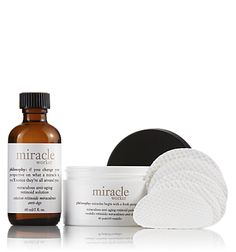 Philosophy Miracle Worker Anti-aging Retinoid Pads and solution.
